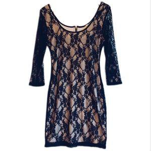 5/20$ Black Lace Long Sleeve Mini Dress